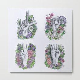 LOVE ASL Art- square version Metal Print