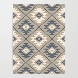 Aztec Symbol Stylized Pattern Blue Cream Sand Poster