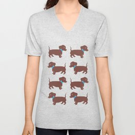 Brown Dachshund with Blue Bow Pattern Art Unisex V-Neck