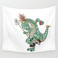 medicine Wall Tapestries featuring Dino Medicine Man Dancing by Richtoon