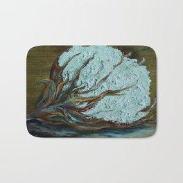 Cotton Boll on Wood Bath Mat