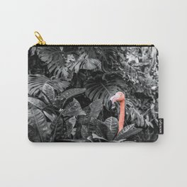Pink Flamingo Poking His head Above the Leaves Carry-All Pouch