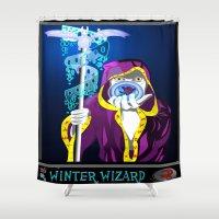 wizard Shower Curtains featuring winter wizard by Nerd Artist DM