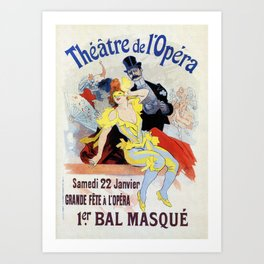1897 Masquerade ball Paris Opera Art Print