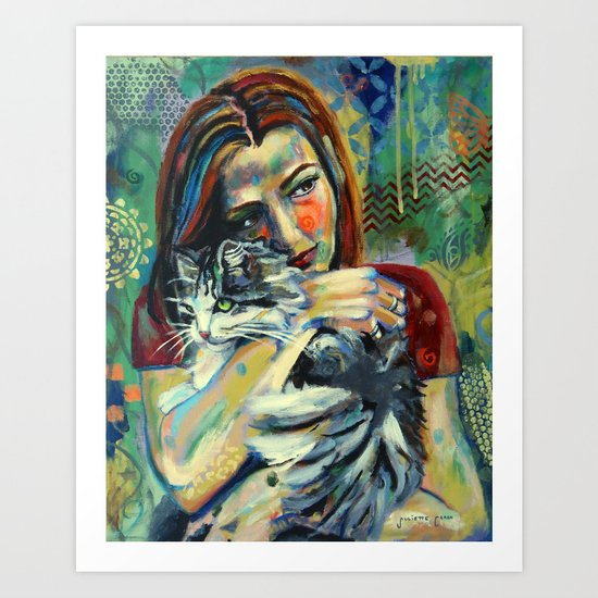 Girl With Cat 2 Art Print
