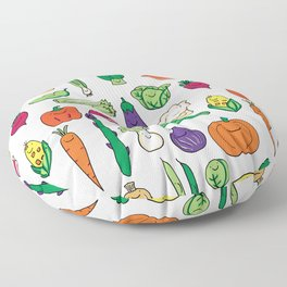 Cute Smiling Happy Veggies on white background Floor Pillow
