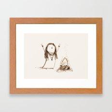 Campfire Lady Framed Art Print