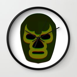 Masked Man 1 - Green Wall Clock