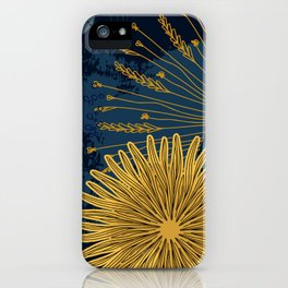 Navy floral background iPhone Case