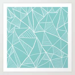 Pastel blue pyramid pattern Art Print