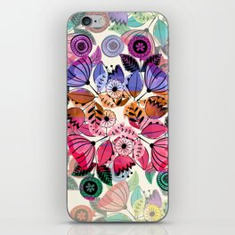 Pink and indigo flower pattern iPhone Skin