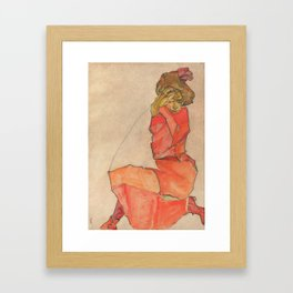 Egon Schiele - Kneeling Female in Orange-Red Dress Framed Art Print