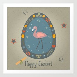 Festive Easter Egg with Cute Flamingo Bird Art Print