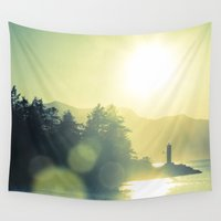 west coast Wall Tapestries featuring West Coast Lighthouse by bunderfost