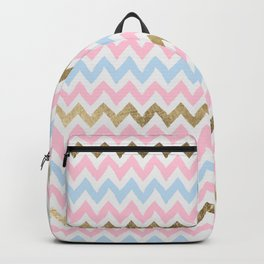 Modern pastel pink blue faux gold chevron Backpack