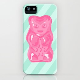 Pink Gummi Bear on Mint Background iPhone Case