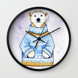 Polar bear in sweater Wall Clock