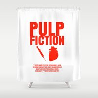 pulp fiction Shower Curtains featuring Pulp Fiction Movie Poster by FunnyFaceArt