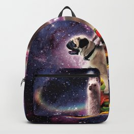 Rainbow Space Llama On Pug Riding Taco Backpack