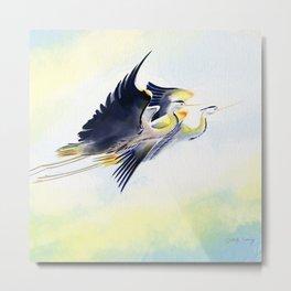 Flying Together 2 - Great Blue Heron Metal Print