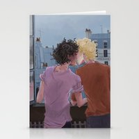 grantaire Stationery Cards featuring Enjolras, Grantaire and twilight over Paris by icarusdrunk