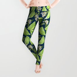 Lime fresh Fruit Pattern with Flowers Leggings