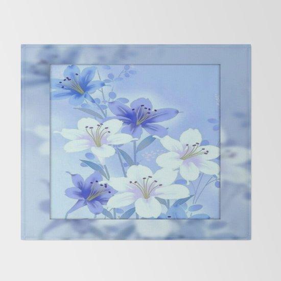 Periwinkle Mirror Floral Throw Blanket By Judy Palkimas