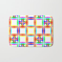 Oriental pattern of neon squares and curly crosses on a white background. Bath Mat