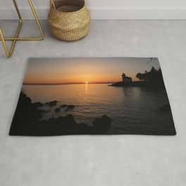 Lime Kiln Lighthouse Sunset Rug