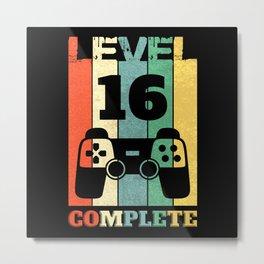 Level 16 Years Boy Man 16th Birthday Metal Print