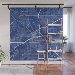 Fort Worth Map, USA - Blue  Wall Mural