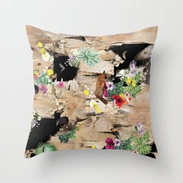 Cracked Wood, Flora and Fauna Throw Pillow