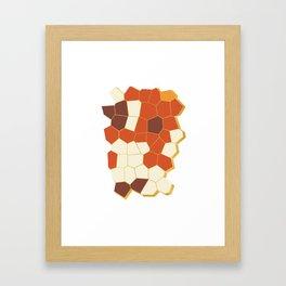 Hexagon Abstract Orange_Cream Framed Art Print