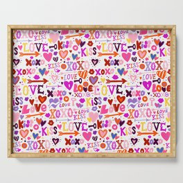 Love doodles in pink colors Serving Tray