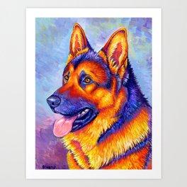 Courageous Partner - Colorful German Shepherd Dog Art Print