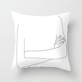 Folded arms line drawing - Bora Throw Pillow