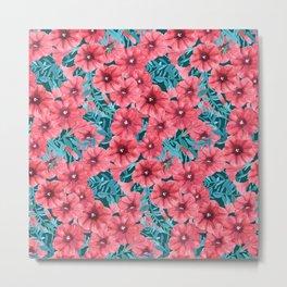 Red watercolor petunia flower pattern Metal Print