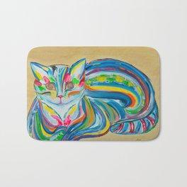 Hypnotic Rainbow Cat on neutral background Bath Mat
