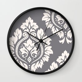 Decorative Damask Art I Cream on Grey Wall Clock