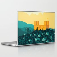 golden Laptop & iPad Skins featuring Golden castle by Roland Banrevi