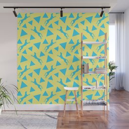 Gorgeous wild jumping cheetahs and abstract blue geometric triangle shapes. Stylish classy elegant sunny pastel yellow retro vintage animal whimsical nature pattern. Wilderness. Wall Mural