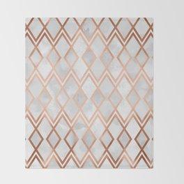 Copper & White Geo Diamonds Throw Blanket