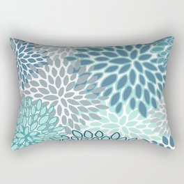 Festive, Floral Prints, Teal, Turquoise and Gray Rectangular Pillow