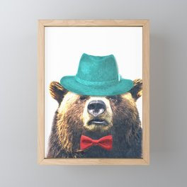 Funny Bear Illustration Framed Mini Art Print