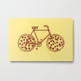 Bicycle with Pepperoni Pizza Tires Metal Print