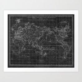Black and White World Map (1799) Inverse Art Print