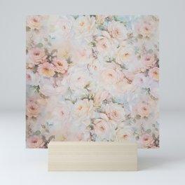 Vintage romantic blush pink ivory elegant rose floral Mini Art Print