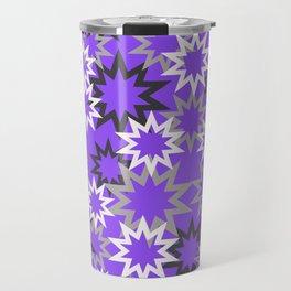 Stars silver grey - violet background Travel Mug