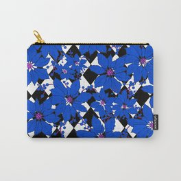 HARLEQUIN AND POINSETTIAS BLACK AND WHITE AND BLUE Carry-All Pouch