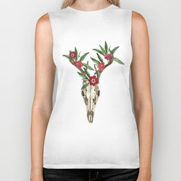 Bohemian deer skull and antlers with flowers Biker Tank